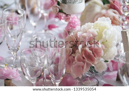 Simple, rustic and classy table decoration for high-end reception in pink and white tones #1339535054
