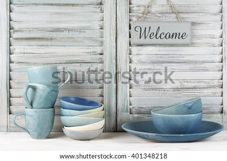 simple rustic blue crockery...