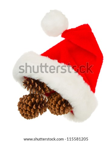 Simple santa hat isolated in white background - stock photo