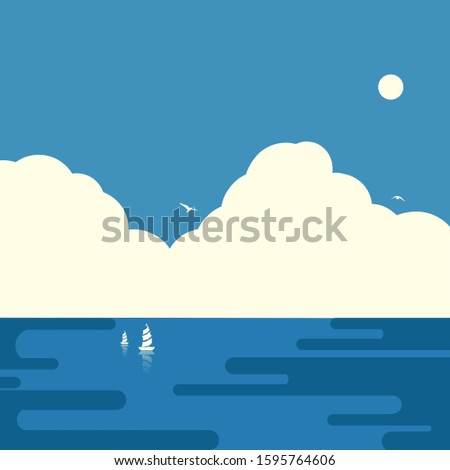 Simple sea illustration,Abstract illustration,Flat illustration
