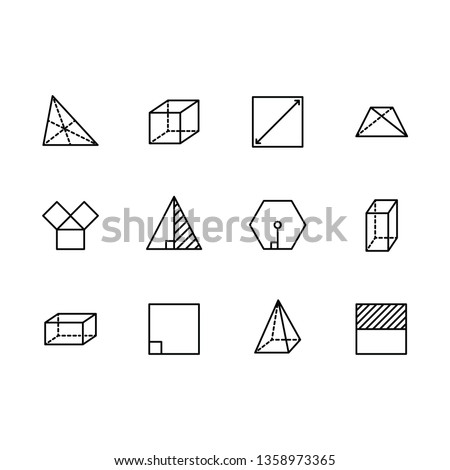 Simple set geometric figures illustration line icon. Contains such square, cube, rectangle, hexagon, triangle, trapezium, angles and lines, degree of angle and other