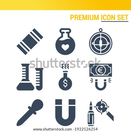 Simple set of  9 filled icons on following themes gyroscope, magnet, euro, militar, pipette, potion, flask, chemistry web icons with high quality Foto stock ©