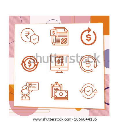 Simple set of 9 icons related to budgetary lineal such as financial statement, financial, refund symbols Stock photo ©