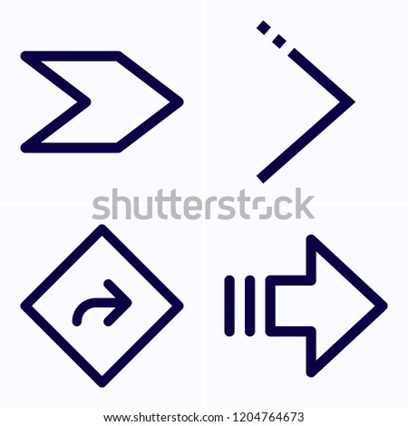 Simple set of 4 icons related to next outline such as direction, next symbols