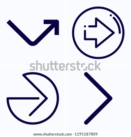 Simple set of 4 icons related to next outline such as next, right arrow, curved arrow symbols