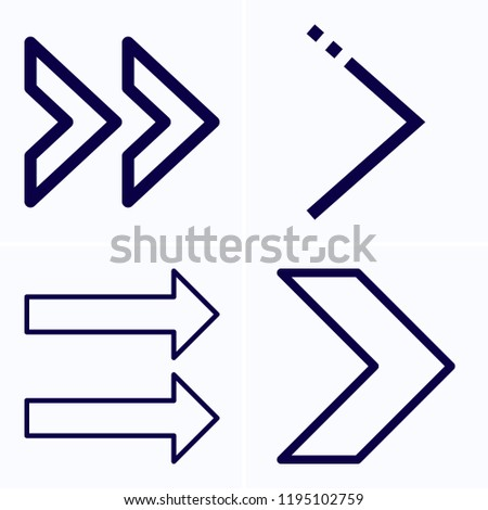 Simple set of 4 icons related to next outline such as next, right arrow symbols