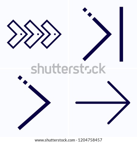 Simple set of 4 icons related to next outline such as next, skip symbols