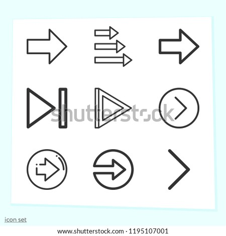 Simple set of 9 icons related to next outline such as next symbols