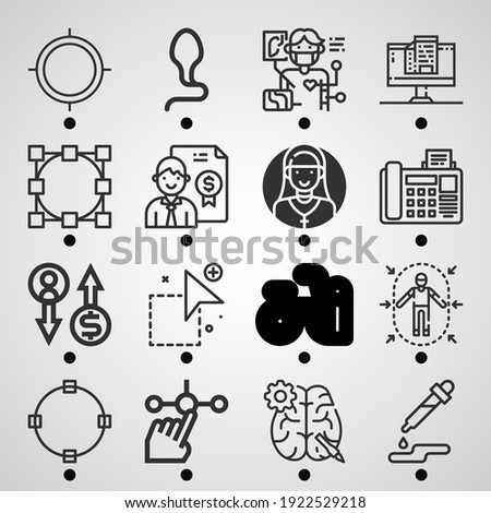 Simple set of  16 lineal icons on following themes select, circle, add, businessman, hire, color selection, spermatozoon, bicycle, tap web icons with high quality Stock photo ©