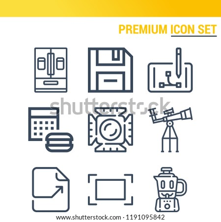 Simple set of  9 outline icons on following themes fridge, calculator, diskette, focus, blender, digital, space, file web icons with high quality
