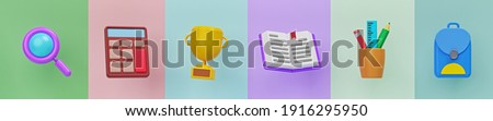 Simple set of school objects icons. minimal Trendy banner. 3d rendering