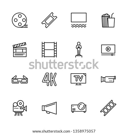 Simple set symbols cinema, filming cinema and film theater. Contains such icon movie, popcorn, cinema film, screen, award, glasses, 3d, 4k television camera video