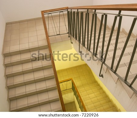 Simple staircase going under in a building