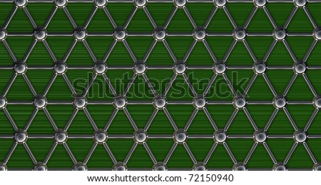 simple steel molecular structure on green background 3D