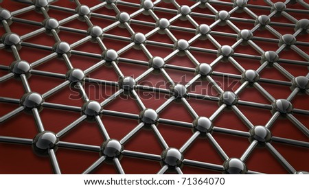 simple steel molecular structure on red background 3D