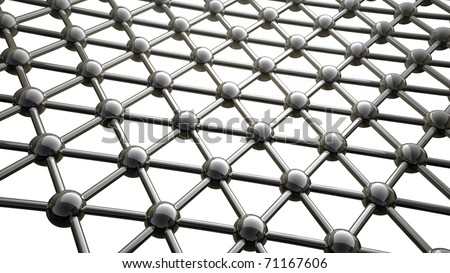 simple steel molecular structure on white background 3D