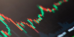Simple stock market exchange candlestick chart graph macro, closeup, shallow dof. Day trading candle sticks on screen, technical analysis financial concept, abstract blurry forex background texture