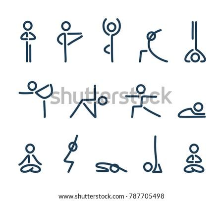 Simple stylized yoga poses icon set. Stick figures in yoga asanas.