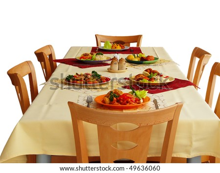 Kinds Of Table Setting : Simple Table Settings With Different Types Of Meals Stock Photo ...
