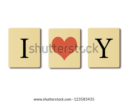 Simple text written on chip I love you, valentines concept.