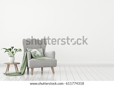 Simple urban jungle style interior with grey armchair, green plaid, tropical pattern pillow and plant on white wall background. 3D rendering.