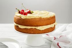 Simple Victoria sandwich cake with vanilla buttercream.