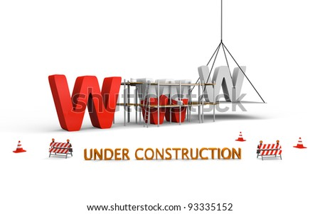 Simple website under construction concept with letters www being built and painted red, with traffic barriers and cones spread across