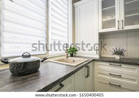 simple well designed modern white kitchen interior Stock photo ©