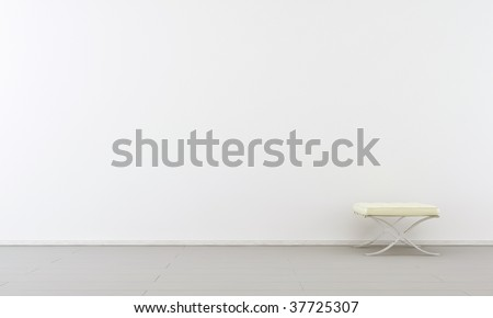 Simple white Chair to face a blank wall - rigth side of view - stock photo