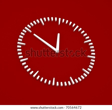 Simple White Clock on Red Background - stock photo