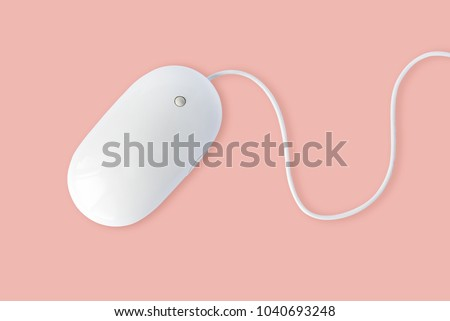 Simple white computer mouse with cord isolated on pastel pink background, minimal style #1040693248