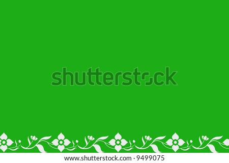 Simple white flower border over a green background
