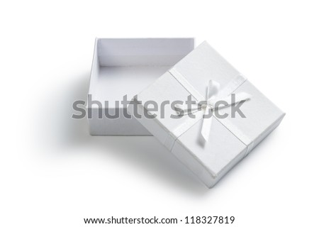 simple white open gift box isolated on white