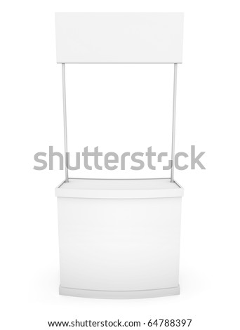 Simple white promotion counter; front view. 3D rendered image