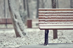Simple wooden bench in snowy white landscape