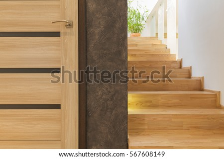 simple wooden interior door and ...