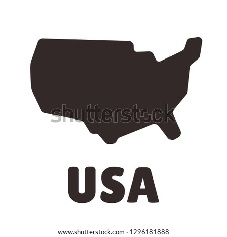 Simplified, stylized USA map shape icon. United States of America silhouette clip art illustration.