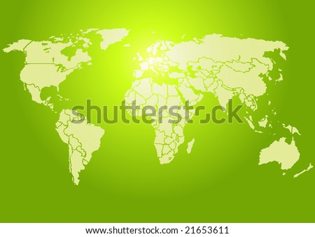 Simplified World map, brightly lit green. Each country is a separate shape.