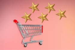 Simply design with a small supermarket grocery pushcart for shopping and 5 gold stars rating