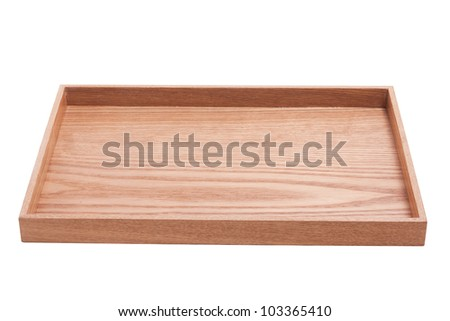 simply wood tray isolated on white
