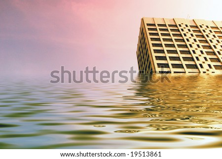 Simulated flood waters engulf tower blocks in city center. - stock photo