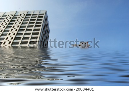 Simulated flooding to two tower blocks in city centre.