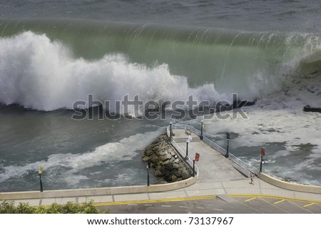 simulated tsunami  with an enormous wave