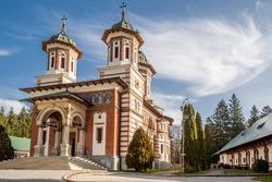 Sinaia Orthodox Monastery on Prahova Valley, Carpathian Mountains, in the Prahova district, Romania.