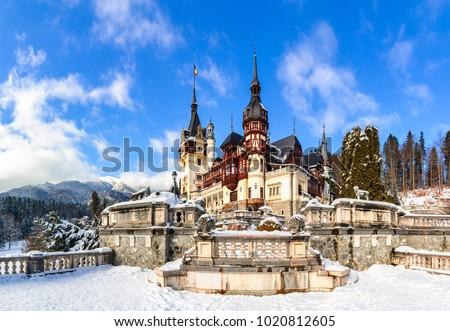 Sinaia, Romania: Peles Castle in a beautiful day of winter, the most famous royal castle of Romania, Romania landmark Prahova region. Foto stock ©