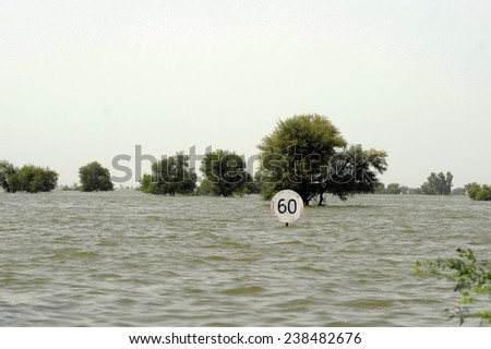 SINDH, PAKISTAN - SEPT 19: A view of flood affected areas in  Sindh is shown on September 19, 2010 in Sindh, Pakistan. #238482676
