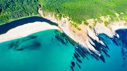 Sinemorets, Bulgaria. Aerial drone view of picturesque Veleka Beach at Black Sea wild coastline