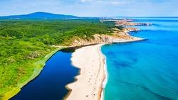 Sinemorets, Bulgaria. Aerial drone view of picturesque Veleka Beach at Black Sea wild coastline