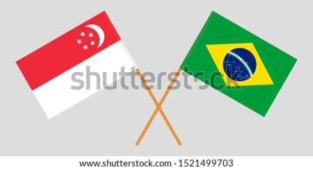 Singapore and Brazil. The Singaporean and Brazilian flags