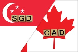 Singapore and Canada currencies codes on national flags background. International money transfer concept
